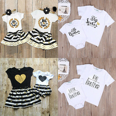 AU Sisters/Brothers Match Kid Baby Boy Girl Romper T-shirt Skirt Outfits Clothes