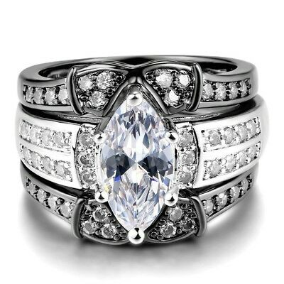 Luxury 925 Silver Filled Wedding Rings for Women White Sapphire Ring Size 6-10
