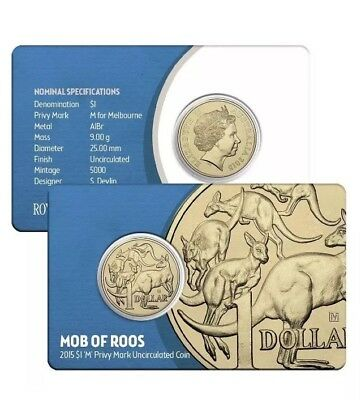 2015 Australia Mob of Roos $1 Dollar Carded Coin M Privy Mark - Rare Only 5000