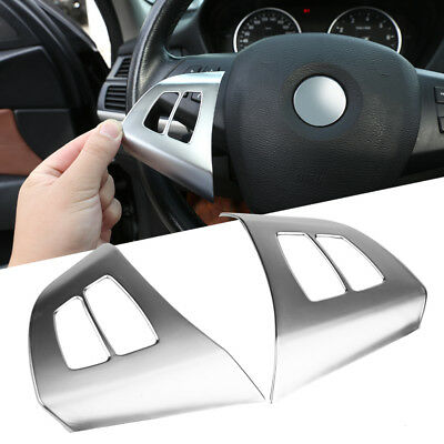 2x ABS Chrome Steering Wheel Button Frame Cover Trim for BMW X5 E70 2008-2013