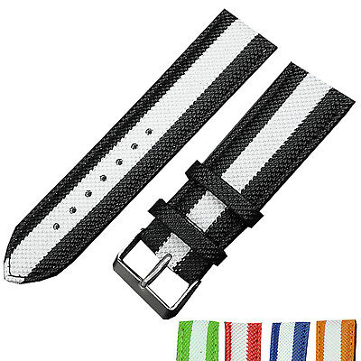 New Stripe 24mm Nylon Fabric Canvas Watch Strap Band Sports Military Army