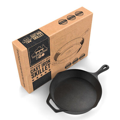 30cm Cast Iron Skillet / Fry Pan. 12 Inch Pre Seasoned. Oven Safe. Cooktop & BBQ