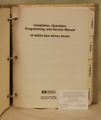 HP85620A Mass Memory Module Istallation, Operation, Programming & Service Manual