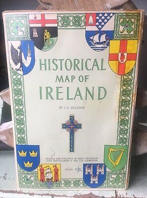 Historical Map Of Ireland Cloth by L G Bullock - John Bartholomew Edinburgh