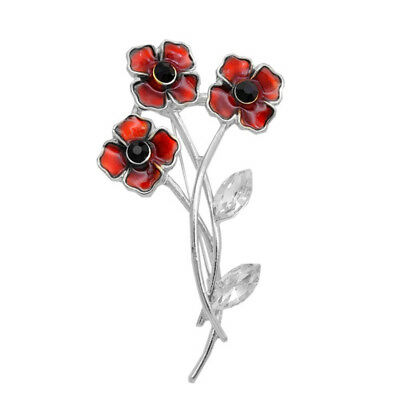 Remembrance Red Poppy Flower Lapel Crystal Pin Brooch Women Broach Badge 6A