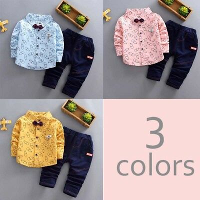 2pcs Toddler Baby Boys Kids Shirt Tops+Long Pants Gentleman Clothes Outfits Set