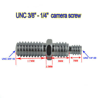 3/8 to 1/4 Converter Screw Stud Adapter for Camera Tripod or Studio Light Stand