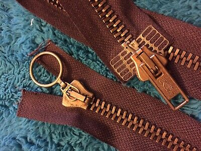 1 Salmi Brown Double Ended Zip Antique Brass Metal Heavy 65cm Zip New