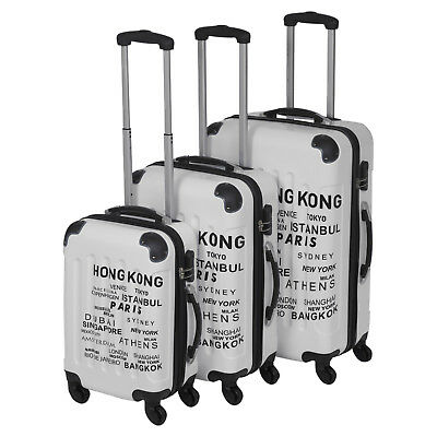 3pc White ABS 4 Wheel Spinner Suitcase Set Hard Shell Luggage Baggage Cases New