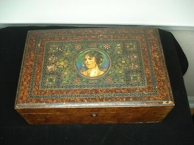 Antique Art Nouveau Victorian Walnut Hand Painted Enamel Wood Box Mucha Style