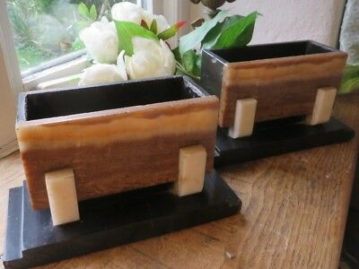 Super Pair Of Vintage French Art Deco Marble Socle /  Stands ~ Period Display
