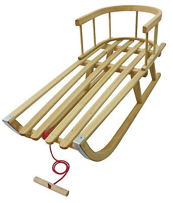 Wooden Sledge Sleigh with Removable Back Rest Toboggan Snow Sled & Pulling Rope