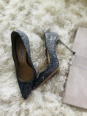 low price outlet store skate shoes JIMMY CHOO ROMY blue/silver 36 glitter ombre pointy pump ...