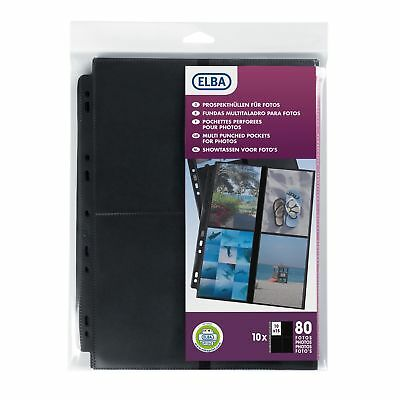 Elba Pack of 10 A4 Polypropylene Special Punched Pockets for Photos - Holds 8...