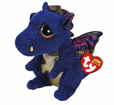 Ty Beanie Babies Boos Saffire Blue Dragon Plush Soft Toy New With Tag