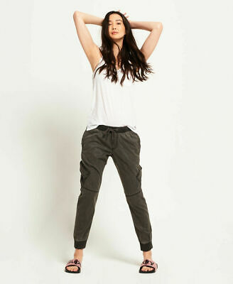 New Womens Superdry Utility Tencel Jogger Washed Black