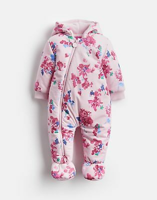 Joules Baby 124952 Wadded Jersey Pramsuit in PINK FLORAL