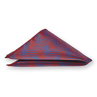 TieMart Red Kimberly Chevron Stripe Pocket Square
