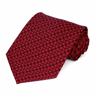 XL Crimson Red Marie Square Pattern Extra Long Necktie