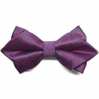 TieMart Red Kimberly Chevron Stripe Diamond Tip Bow Tie