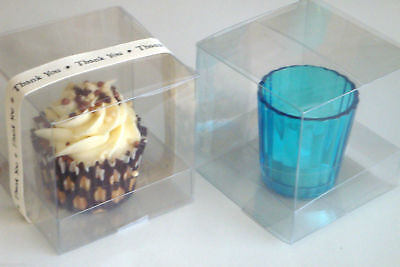 Clear PVC Cupcake Favour Sweet Boxes 8.5 x 8.5 x 8.5 cm FREE Optional Inserts
