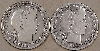 1907-S + 1909-S(dipped) Barber Half Dollars as Pictured