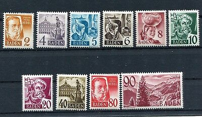 Germany French Occupation Zone Baden 1948-1949 5N28-5N37 Perfect Mnh