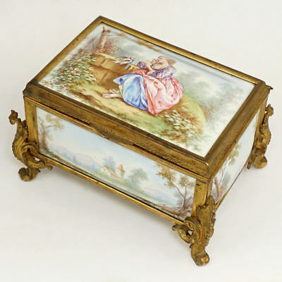 Antique 19thc French Enamel on Copper Gilt Bronze Jewelry Casket Box