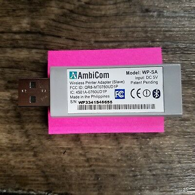 AmbiCom WP-SA Wireless Printer Slave Adapter. Tested and working. USB type