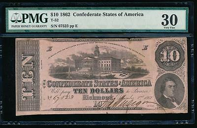 AC T-52 $10 1862 Confederate Currency CSA PMG 30 comment