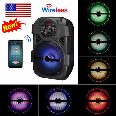 "Portable PA Karaoke Bluetooth Speaker w/ 8"" Subwoofer Sound System Big LED MIC"