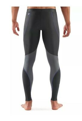 SKINS RY400 Men's Compression Long Tights for Recovery - Graphite/Blue - Size XL