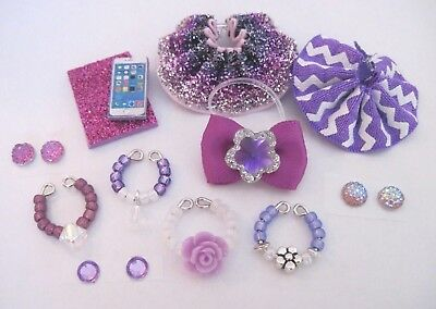 Littlest Pet Shop LPS 12 Clothes PURPLE Accessories Custom Skirts Bow Necklaces