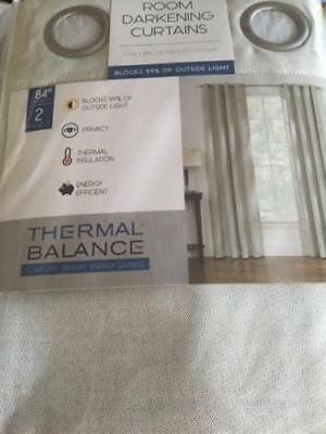Thermal Balance Room Dark Bristol Window Curtains 2 Panel 52 x 84 IVORY