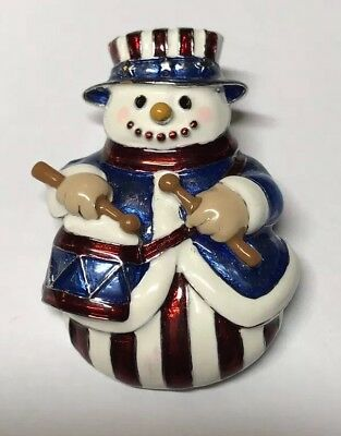 Snowman X Mas Patriotic Red White Blue Enamel Pin Brooch