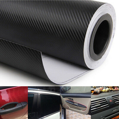 40x100cm 3D Matt Black Carbon Fiber Car Vinyl Foil Film Wrap Roll Sticker Decal