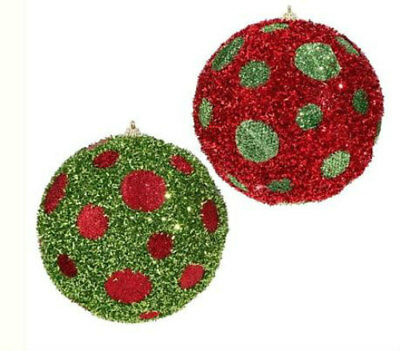"NEW Raz 5/"" Green and Red Polka Dot Tinsel Christmas Ball Ornament 3706813"