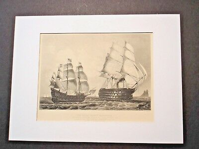 antique engraving THE GREAT HARRY MAN OF WAR CONTRASTED WITH THE PRINCE ALBERT