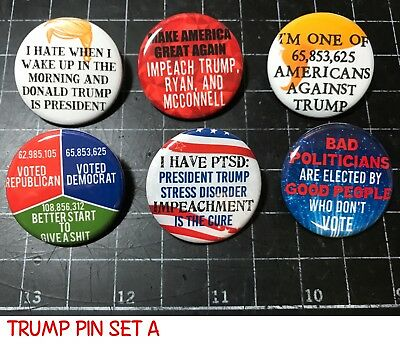 """ANTI TRUMP Pins. 1.25"""" set of 6 buttons. Anti Trump Buttons, Hate Trump - SET A"""