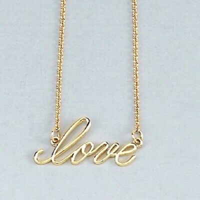 Love Necklace In Solid 14K White Rose Or Yellow Gold