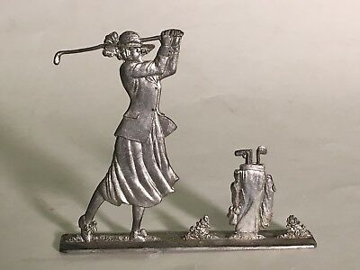 Antique Victorian Golf Pewter Desk Top Figure Lady Golfer With Club And Ball