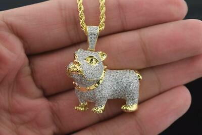 Mens 14k Gold Plated Fashion Brass Micro Pave Bulldog Pendant with Rope Chain