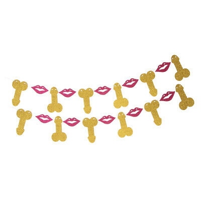 Glitter Paper Willy Lips Banner Confetti Hen Party Ladies Night Out Decor