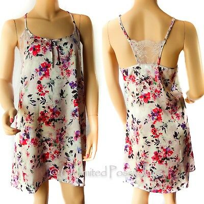 NEW BRAS N THINGS Oriental Bloom Short Chemise Top Printed Light Pink S14 w Tags