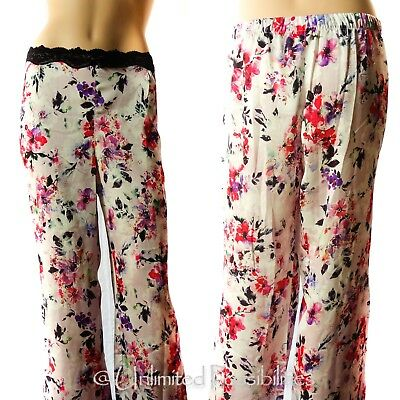 NEW BRAS N THINGS Oriental Bloom Long Pants Printed Light Pink S14 w Tags