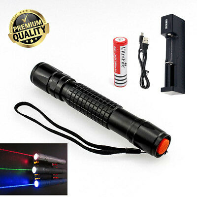 Military High Power Green Red Laser Pointer Pen - 18650 Battery & USB Charger