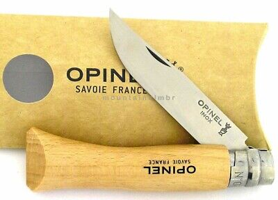 Opinel No 7 STAINLESS Steel Blade Beech Wood Knife Ring Locking France