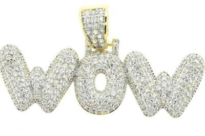 Hip Hop 14K Gold Plated Bubble WOW Letter Rapper IcedOut Pendant with Rope Chain