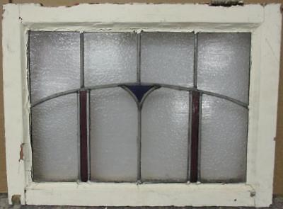 """OLD ENGLISH LEADED STAINED GLASS WINDOW Pretty Arch Design 21.5"""" x 16"""""""