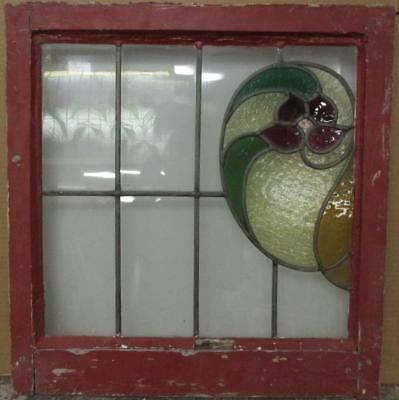 """MID SIZE OLD ENGLISH LEADED STAINED GLASS WINDOW Gorgeous Floral 22.25"""" x 23.25"""""""